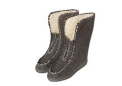 Valašské boty s ovčí vlnou  důchodky - šedé vysoké